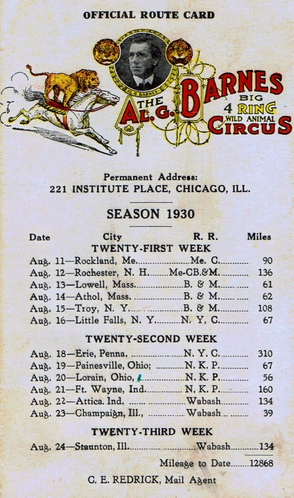A.G Barnes route card 8 605x1024 Al G. Barnes Route Card 1930 #5