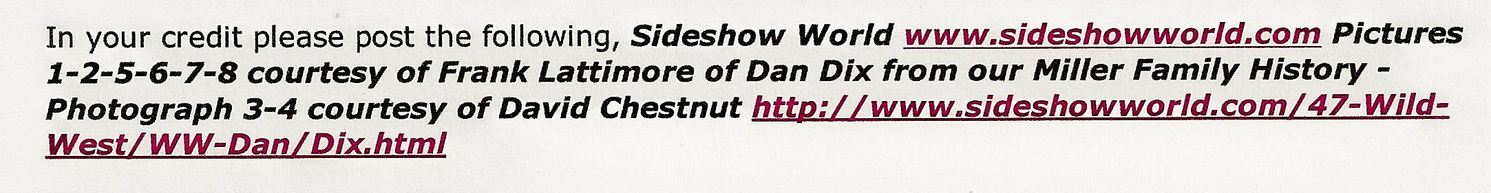 sideshow world Dan Dix