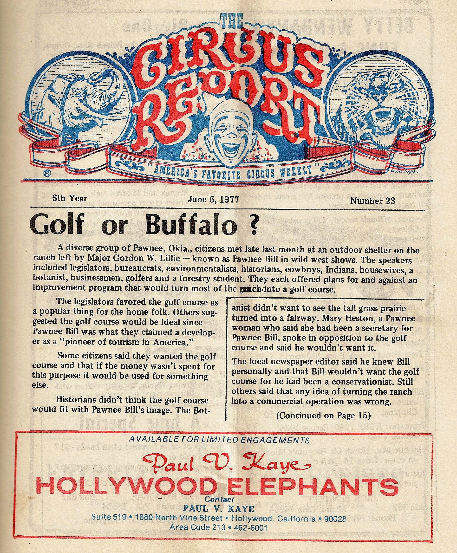 Circus Report Cover 19777